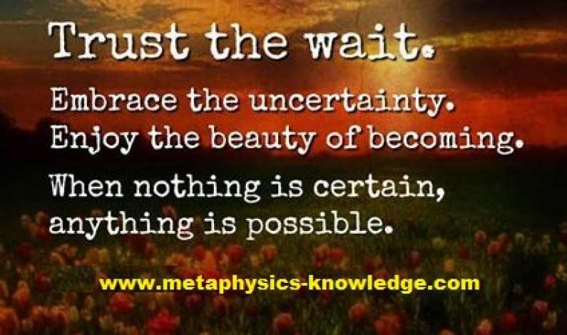 Trust the wait: Enjoy the Uncertainty