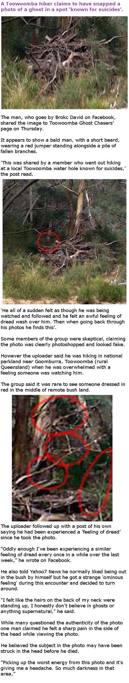 Aussie hiker claims to have taken a photo of a ghost in bushland
